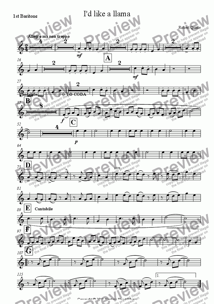 page one of the 1st Baritone part from I'd like a llama