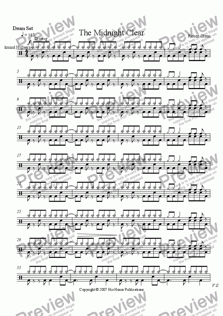 page one of the Drum Set part from The Midnight Clear