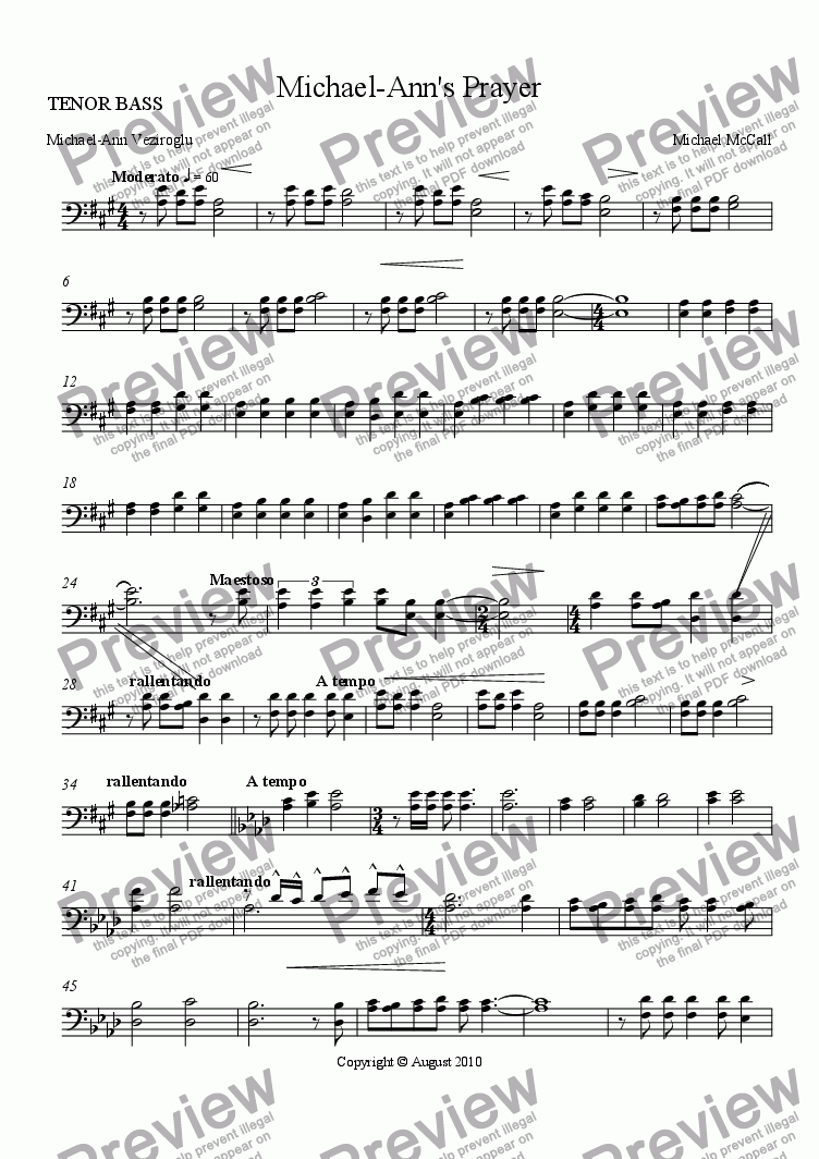 page one of the TENOR BASS part from Michael-Ann's Prayer