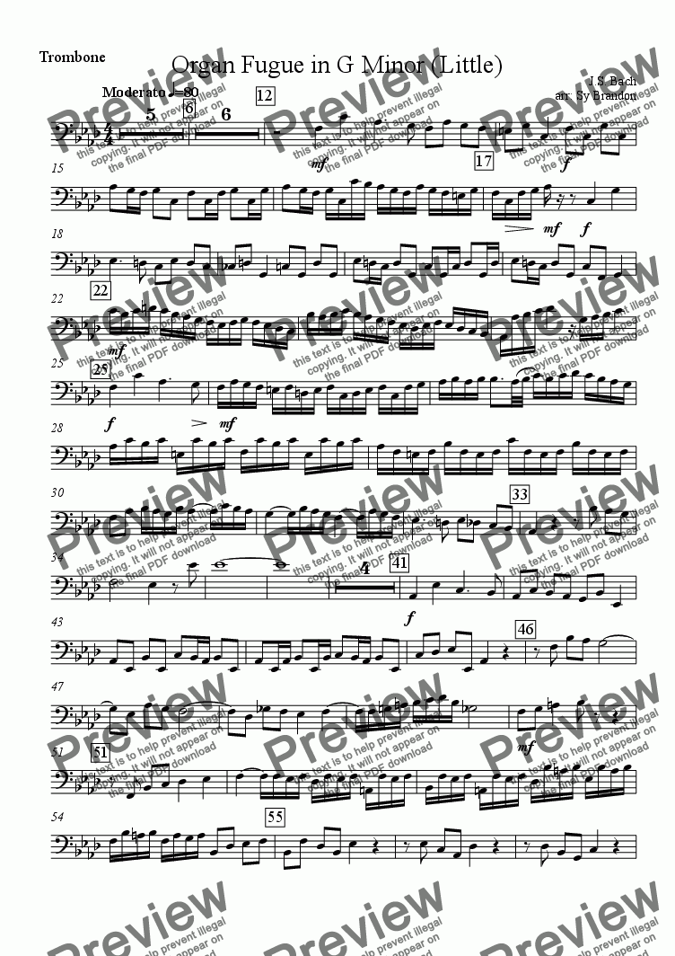 page one of the Trombone part from Organ Fugue in G Minor