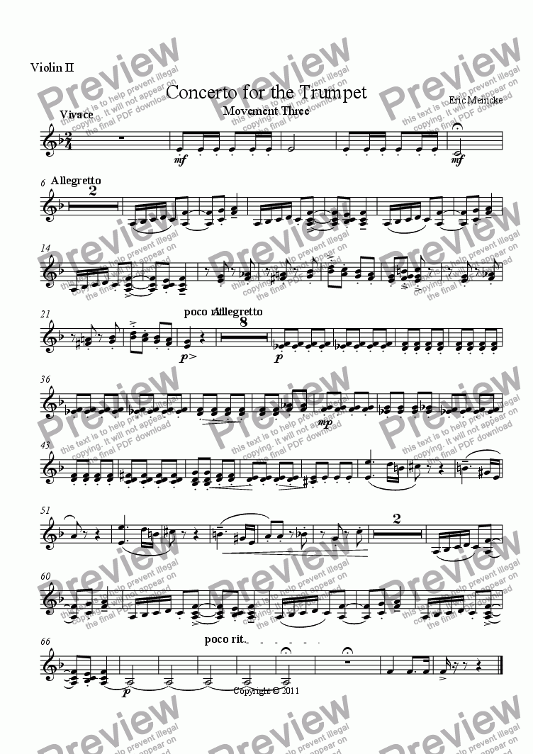 page one of the Violin II part from Concerto for the Trumpet, Movement III