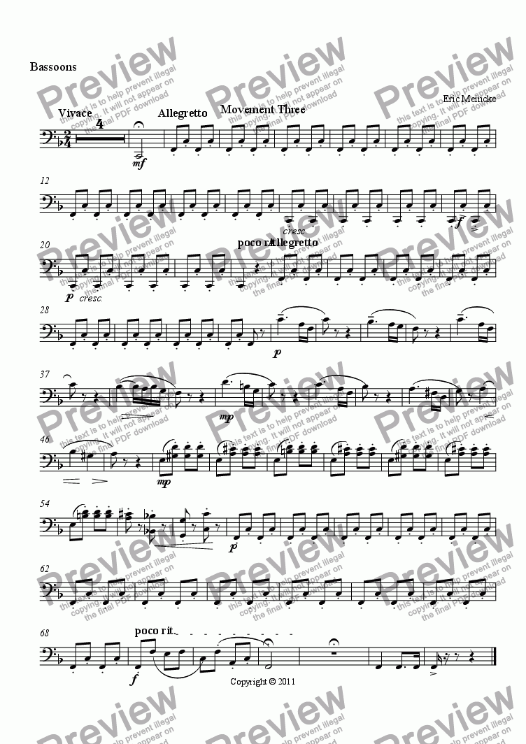 page one of the Bassoons part from Concerto for the Trumpet, Movement III