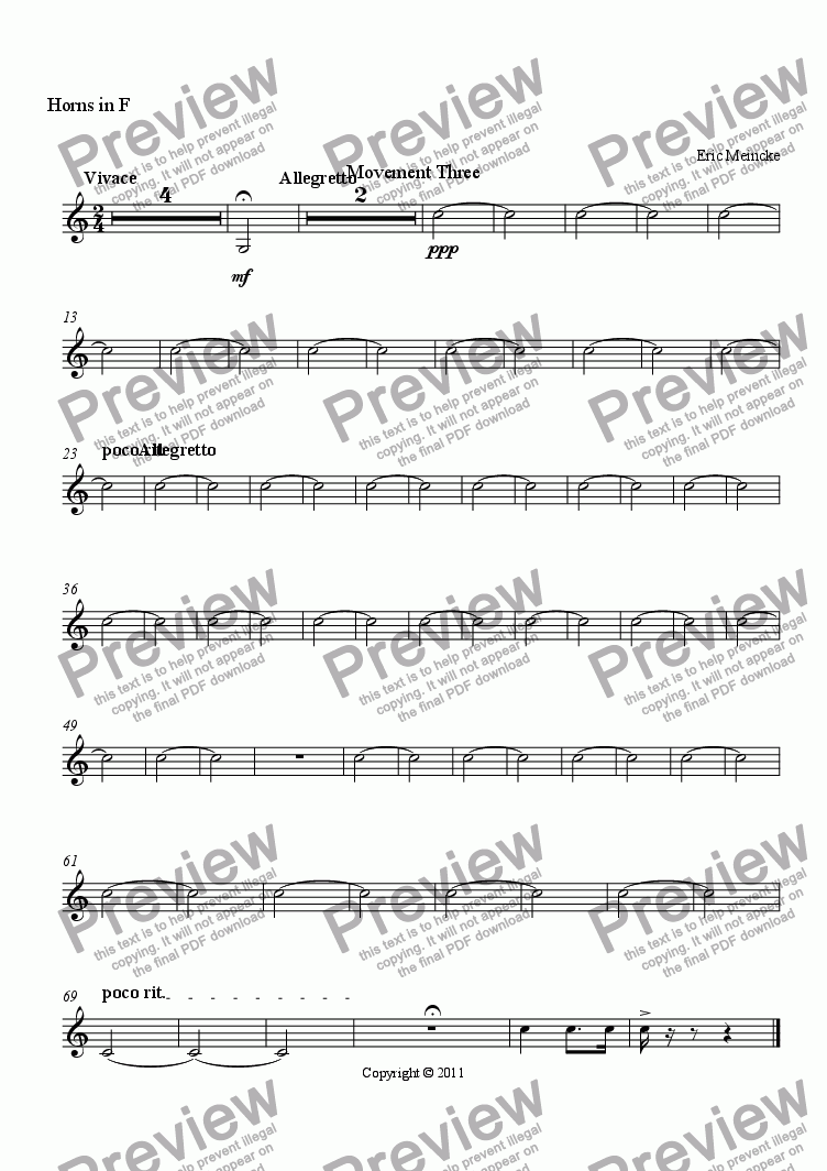 page one of the Horns in F part from Concerto for the Trumpet, Movement III