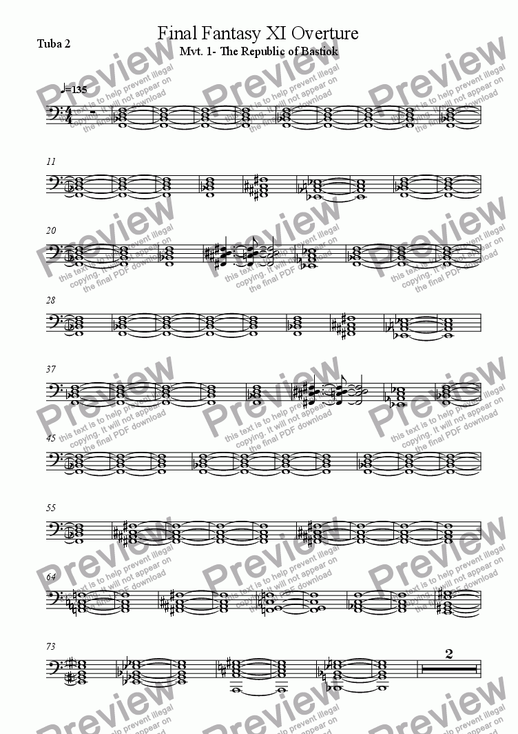 page one of the Tuba 2 part from Final Fantasy XI Excerpt
