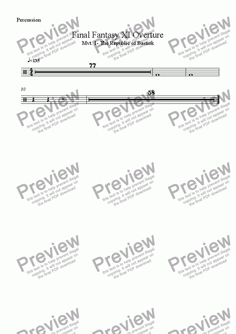 page one of the Percussion part from Final Fantasy XI Excerpt