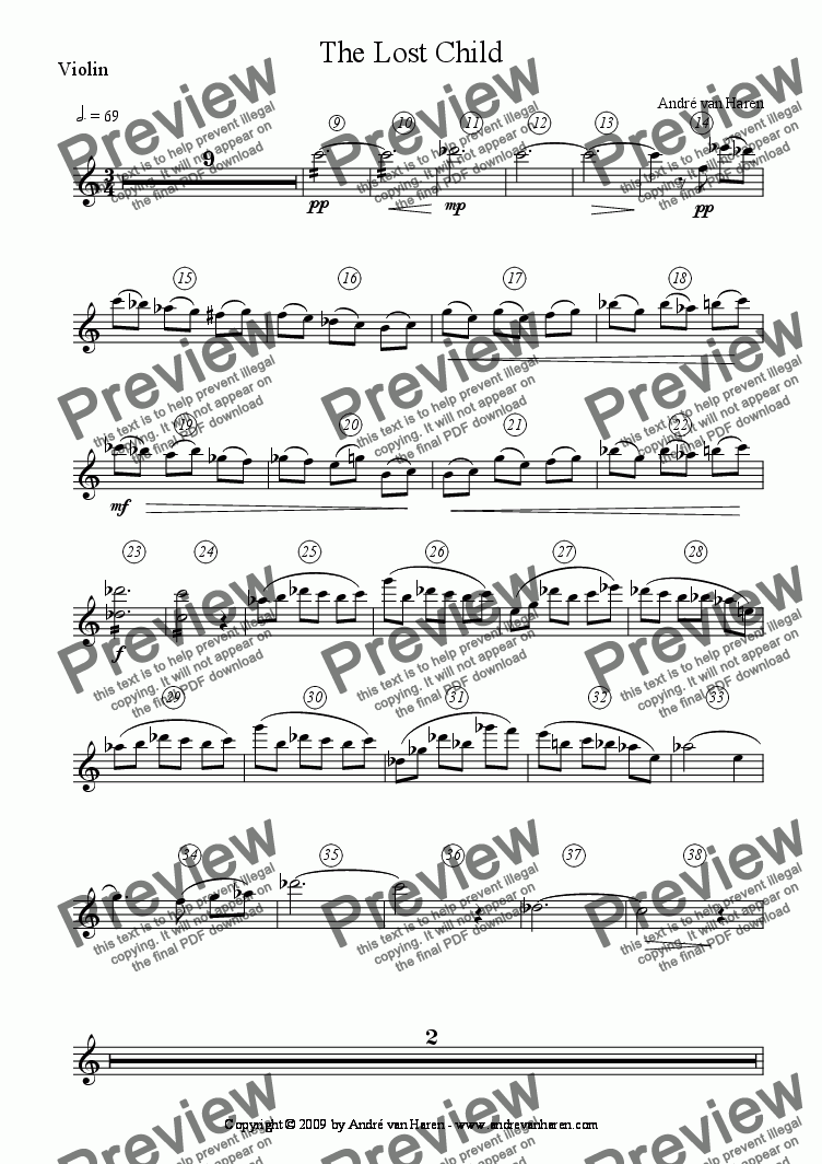 page one of the Violin part from The Lost Child