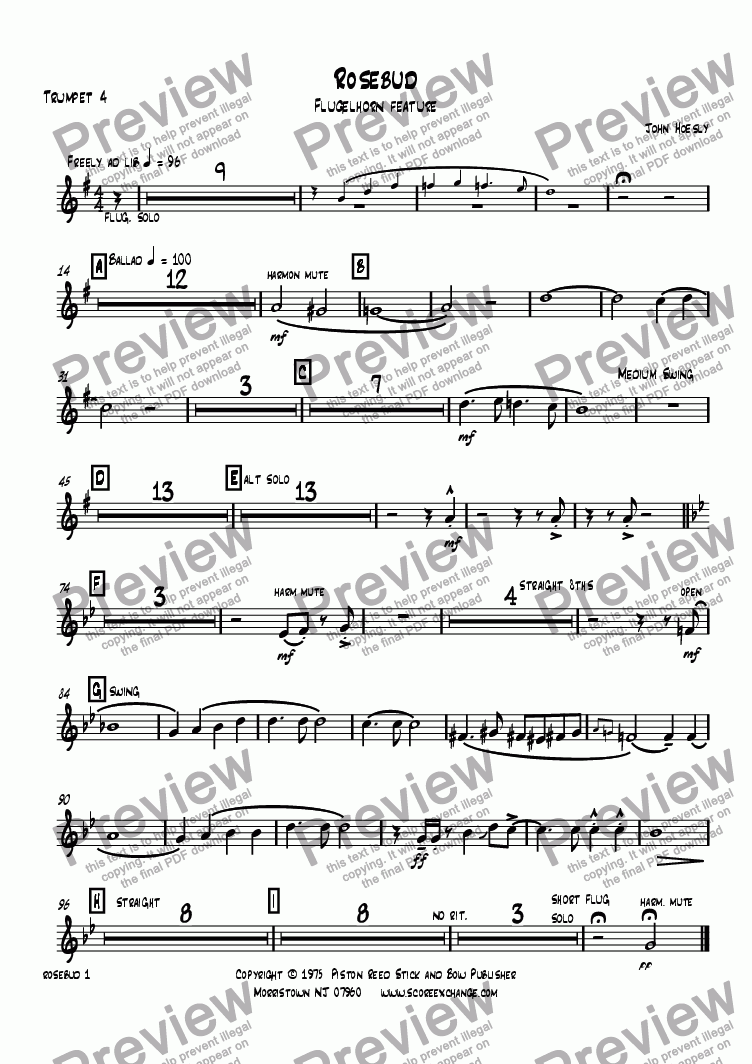 page one of the Trumpet 4 part from Rosebud- Flugelhorn solo and big band