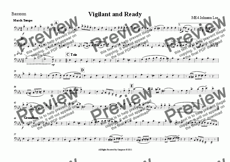 page one of the Bassoon part from Vigilant and Ready