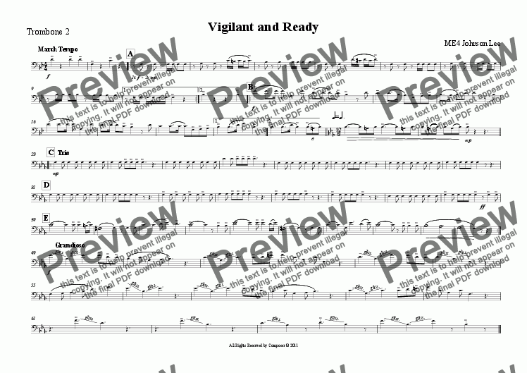 page one of the Trombone 2 part from Vigilant and Ready