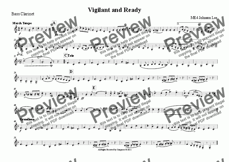 page one of the Bass Clarinet part from Vigilant and Ready
