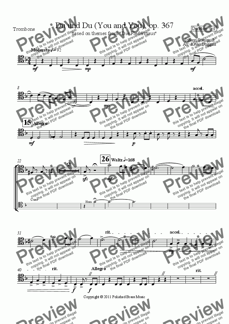 page one of the Trombone part from Du und Du (Die Fledermaus)