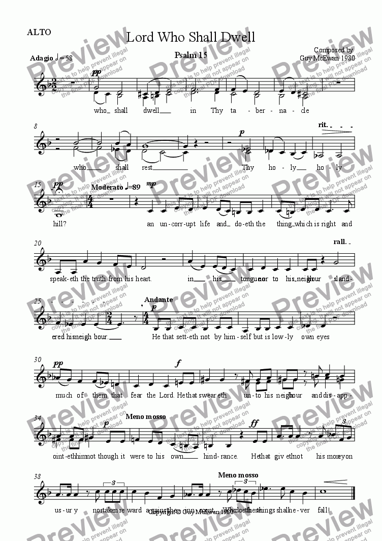 page one of the ALTO part from Lord Who Shall Dwell Psalm 15
