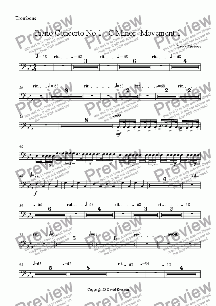 page one of the Trombone part from Piano Concerto No.1 - C Minor- Movement 1