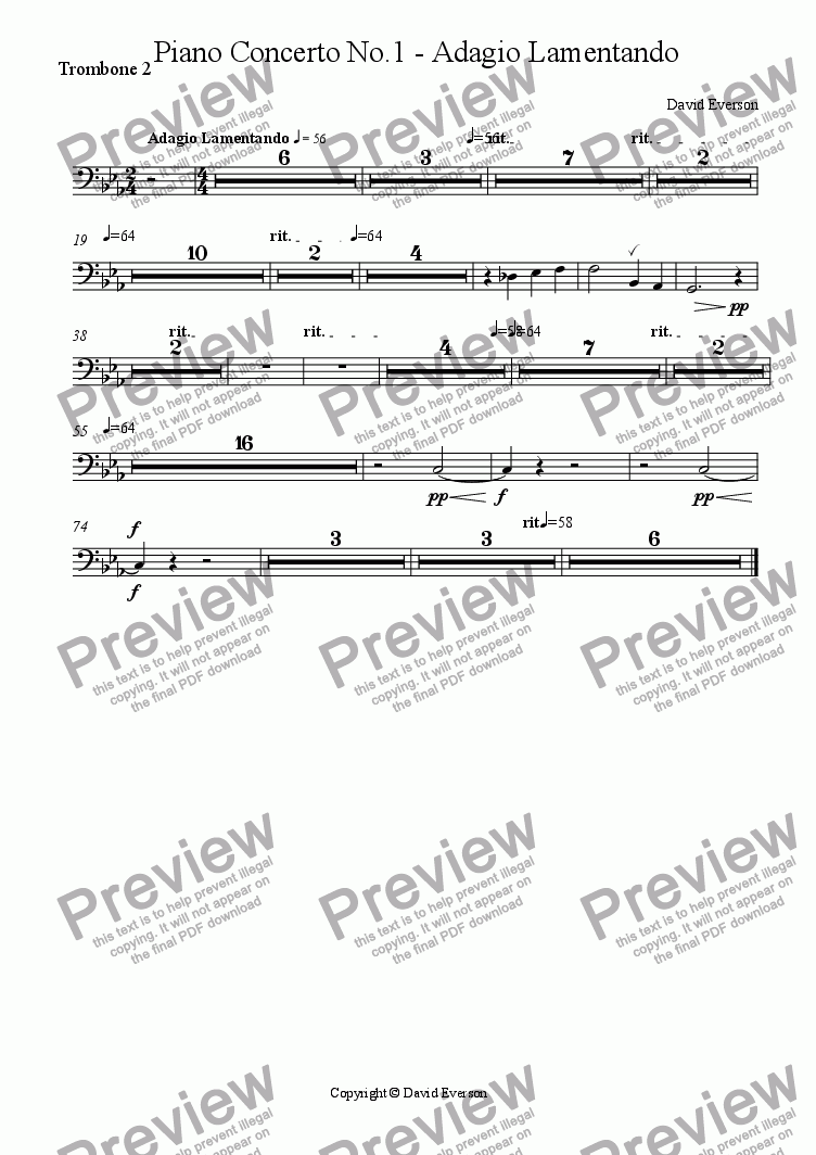 page one of the Trombone 2 part from Piano Concerto No.1 - Adagio Lamentando