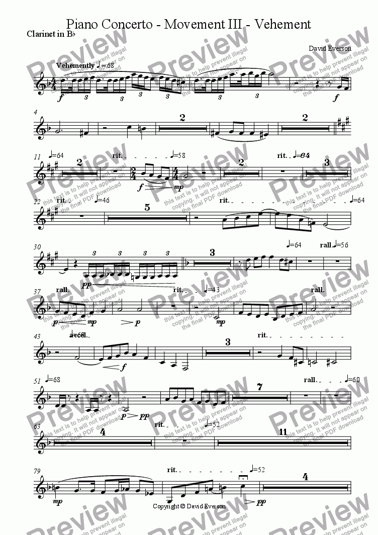 page one of the Clarinet in B^b part from Piano Concerto - Movement III - Vehement