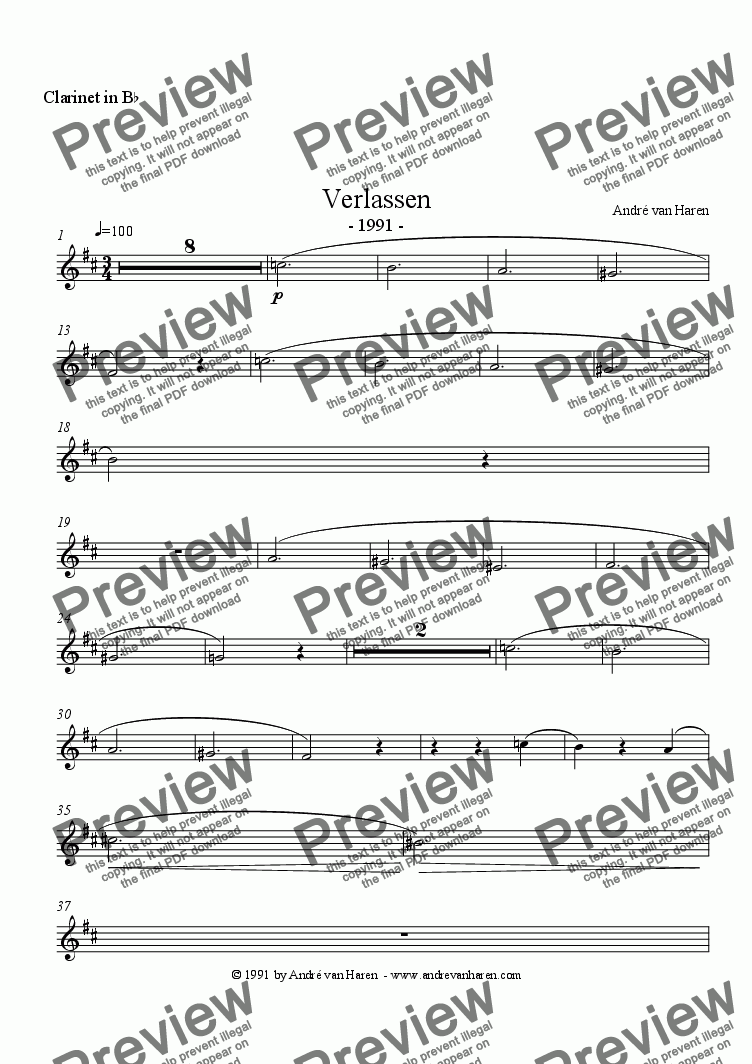 page one of the Clarinet in B^b part from Verlassen - clarinet and piano