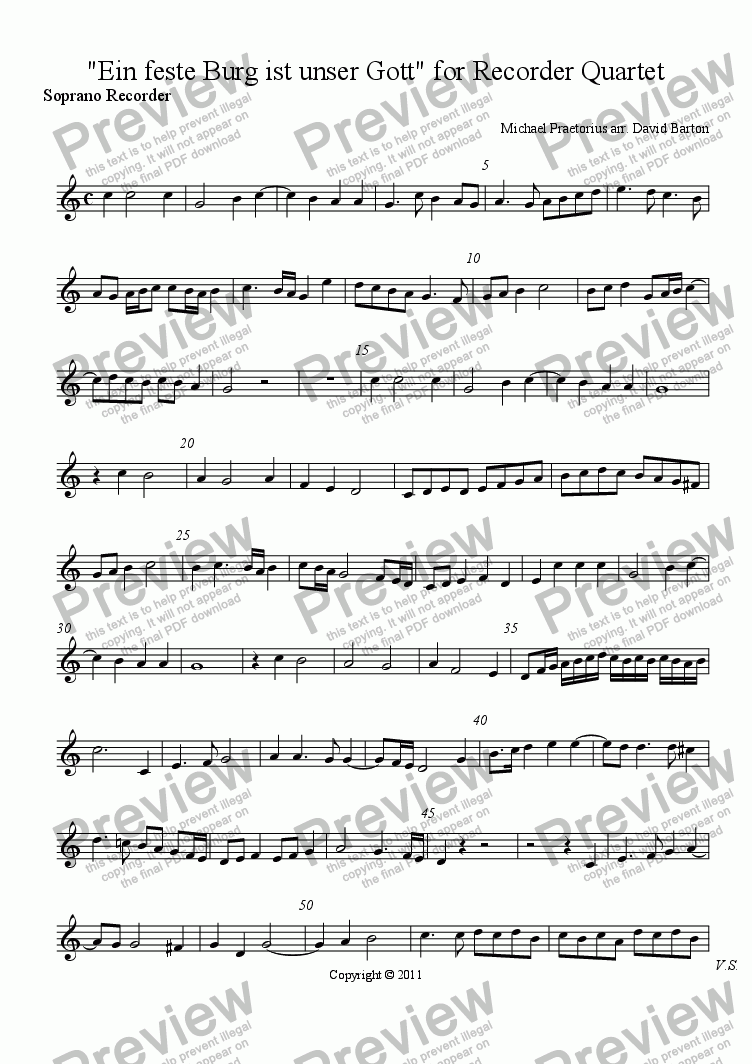 "page one of the Soprano Recorder part from Praetorius for Recorders: ""Ein feste Burg"" for Recorder Quartet"