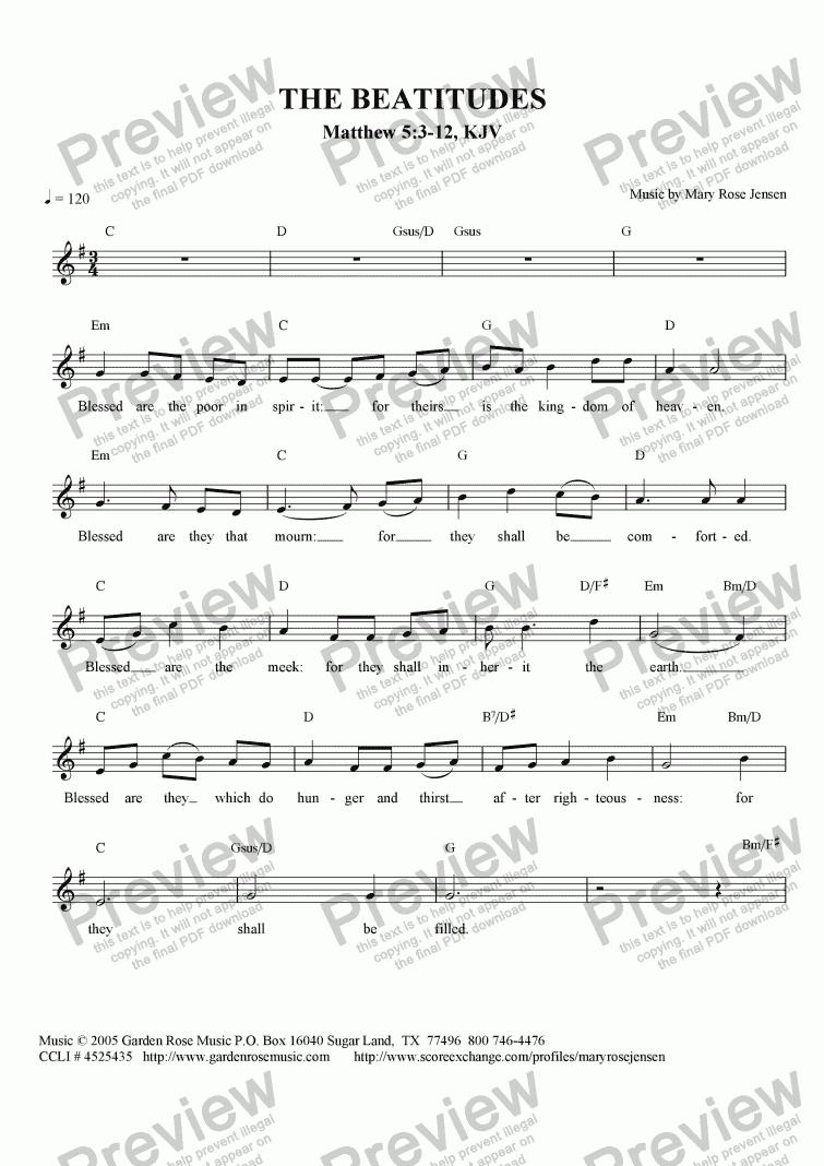 Lead sheet The Beatitudes part from The Beatitudes Matthew 53 – Beatitudes Worksheet