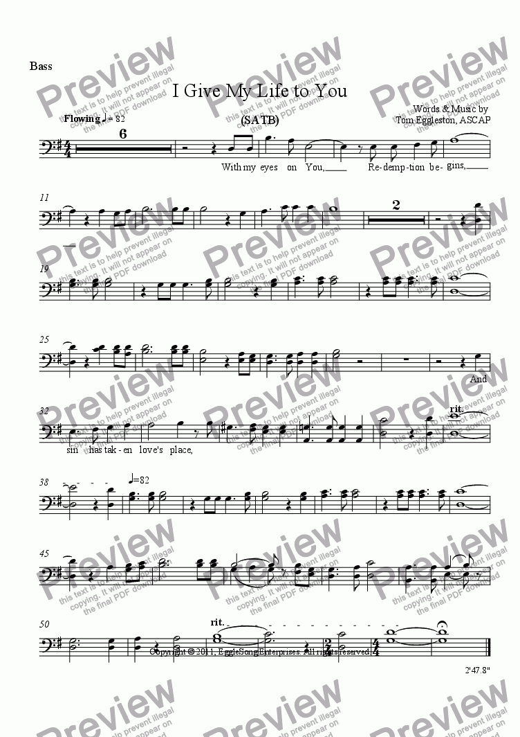 page one of the Bass part from I Give My Life to You