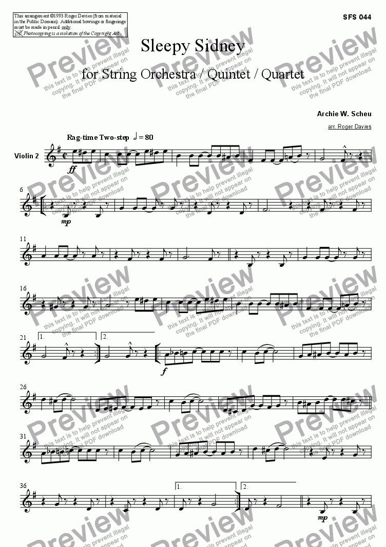 page one of the Violin 2 part from Sleepy Sidney