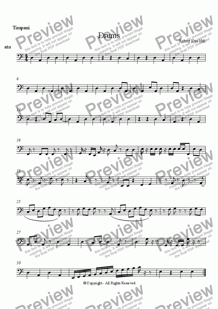 page one of the Timpani part from Drums