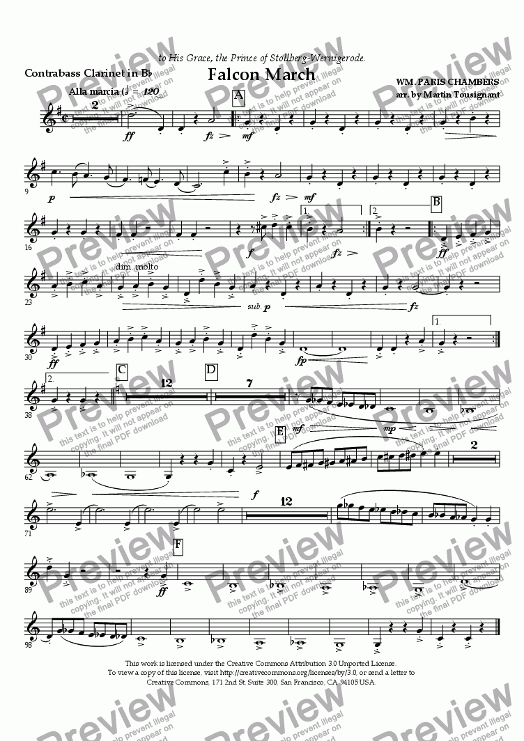 page one of the Contrabass Clarinet in B^b part from Falcon March