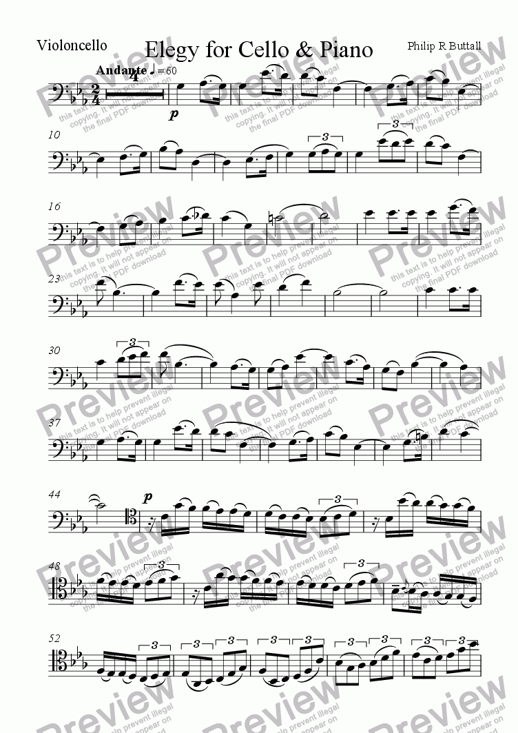 page one of the Violoncello part from Elegy for Cello & Piano