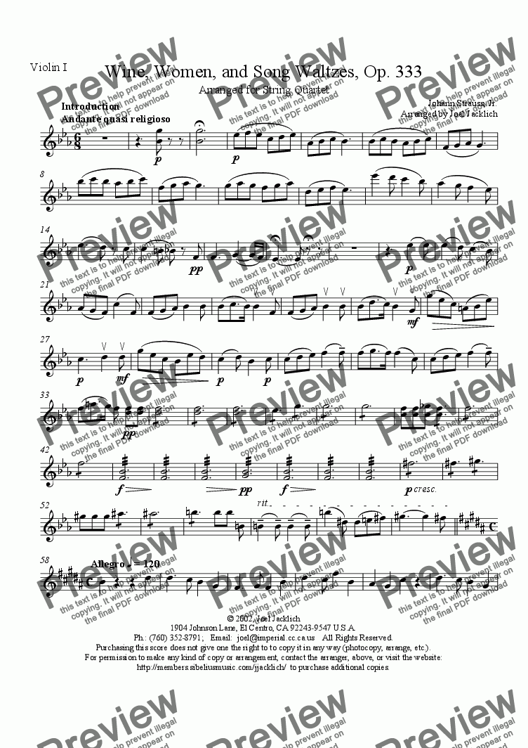 page one of the Violin I part from Wine, Women, and Song Waltzes, Op. 333, for String Quartet