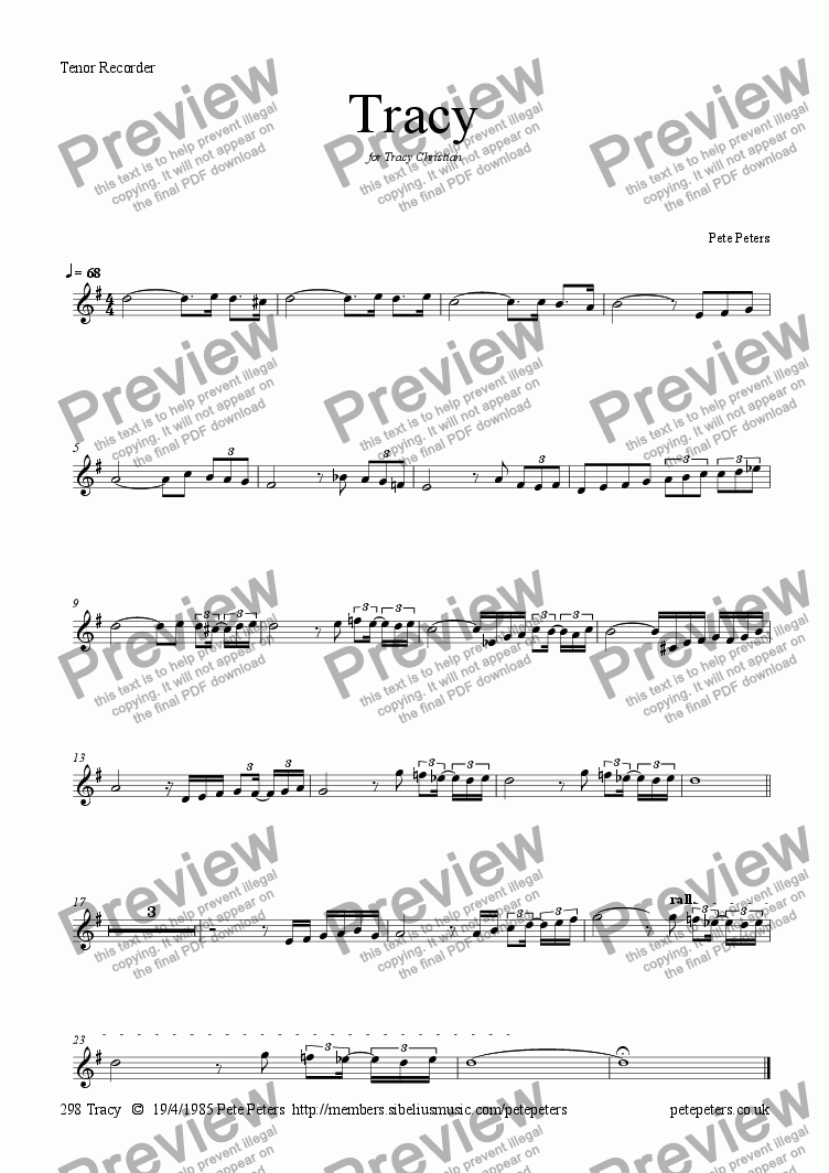 page one of the Tenor Recorder or Flute part from Tracy [solo inst + pno]