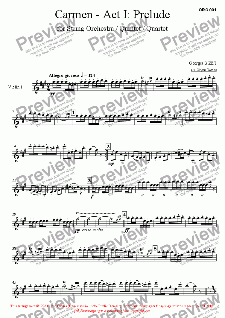 page one of the Violin 1 part from Carmen - Act 1: Prelude