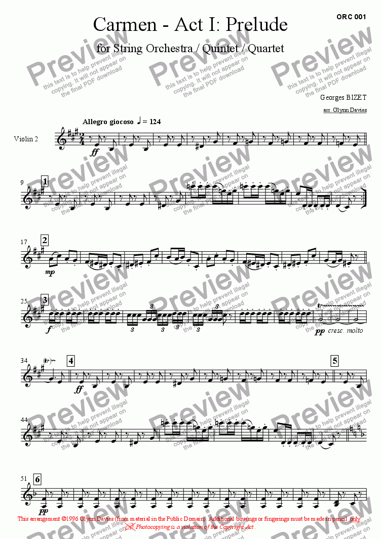 page one of the Violin 2 part from Carmen - Act 1: Prelude