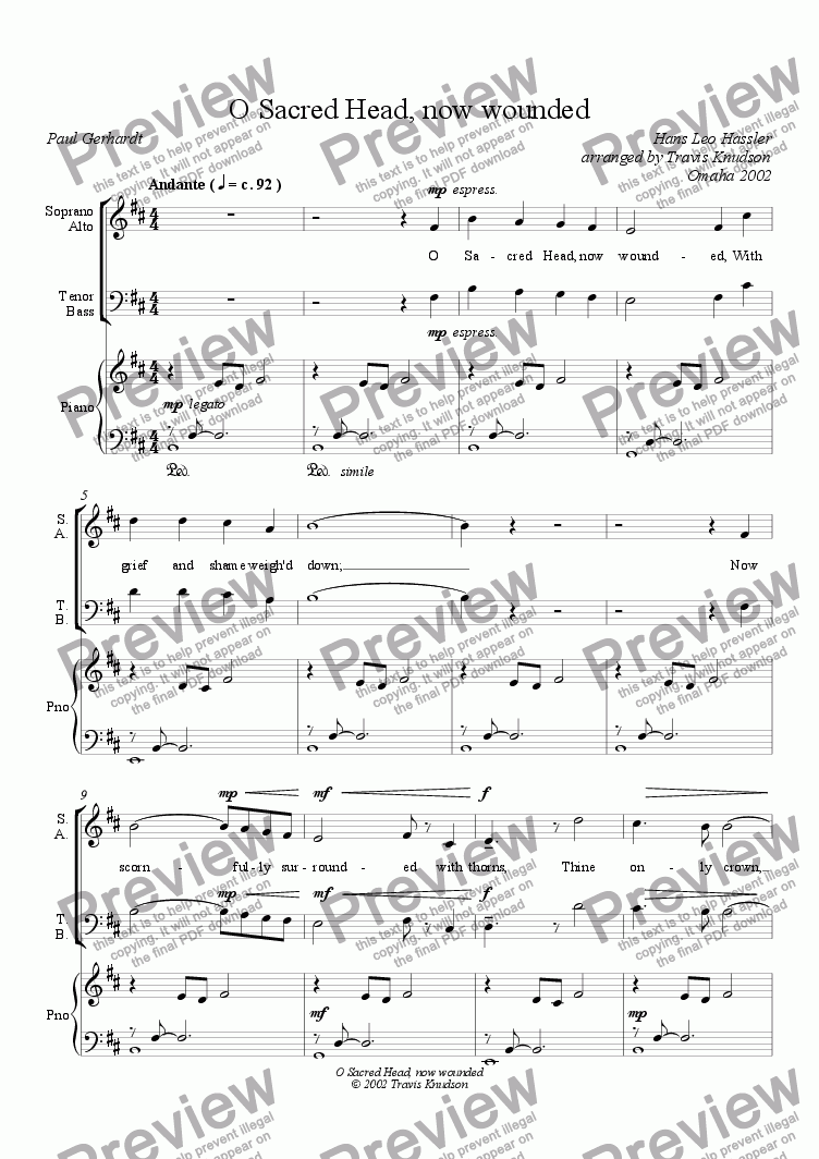 page one of the Soprano Alto part from O Sacred Head, now wounded (Mixed Chorus--Full Score)