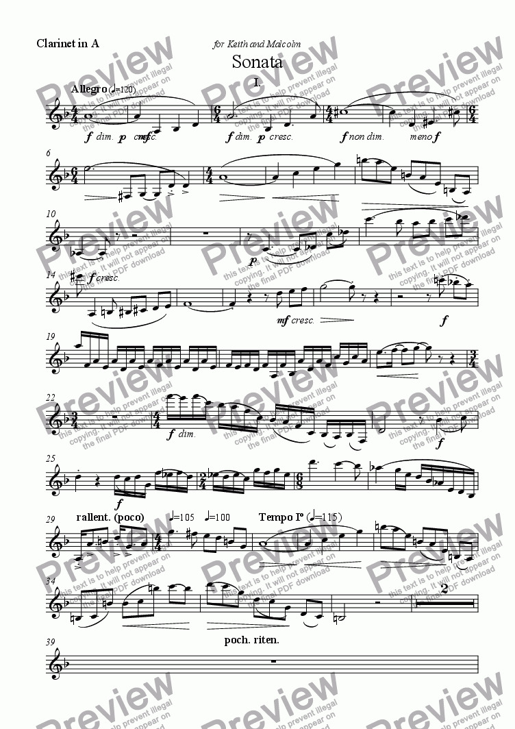 page one of the Clarinet in A part from Sonata for Clarinet and Piano - I.