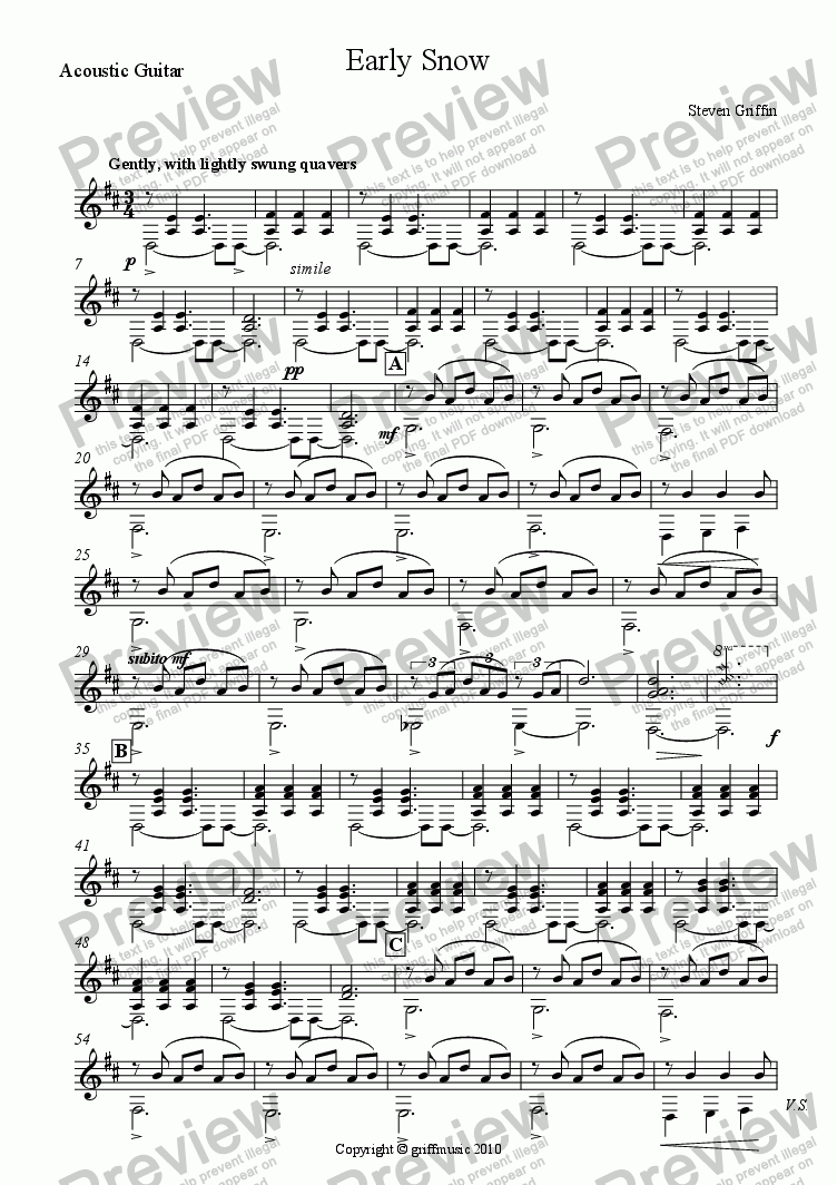 page one of the Acoustic Guitar part from Early Snow