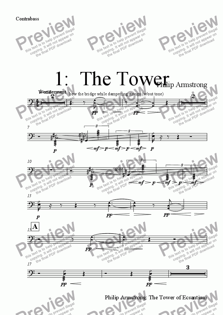 page one of the Contrabass part from The Tower of Ecsantium - 1st movement