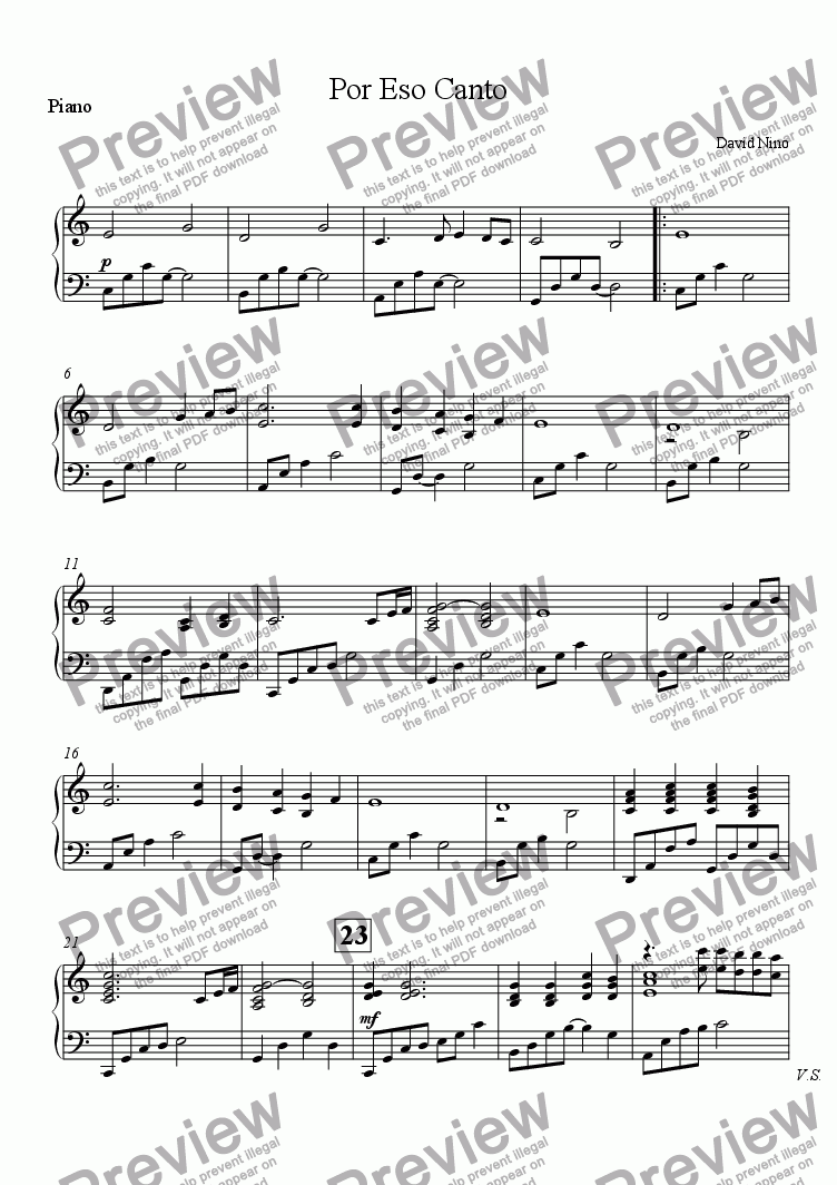 page one of the Piano part from Por Eso Canto