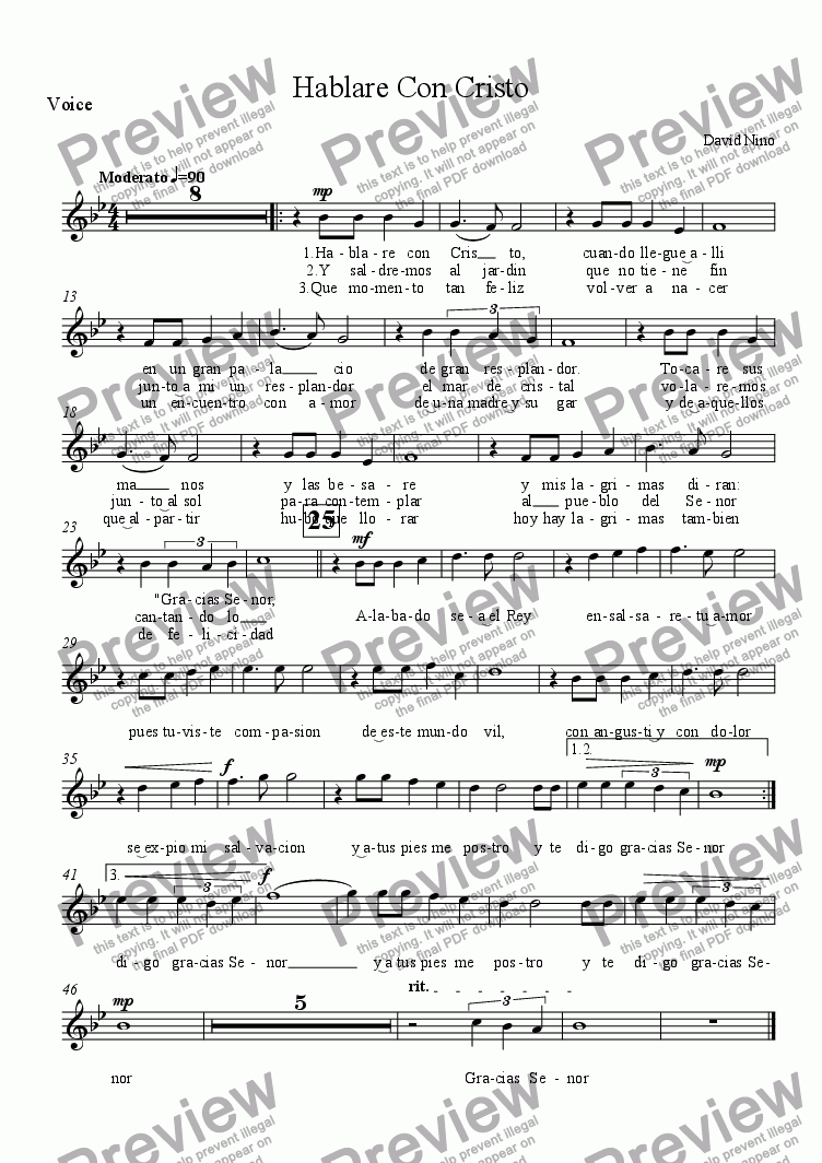 page one of the Voice part from Hablare Con Cristo