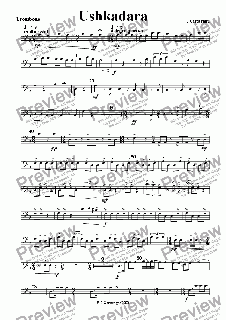 page one of the Trombone part from Ushkadara for brass quintet