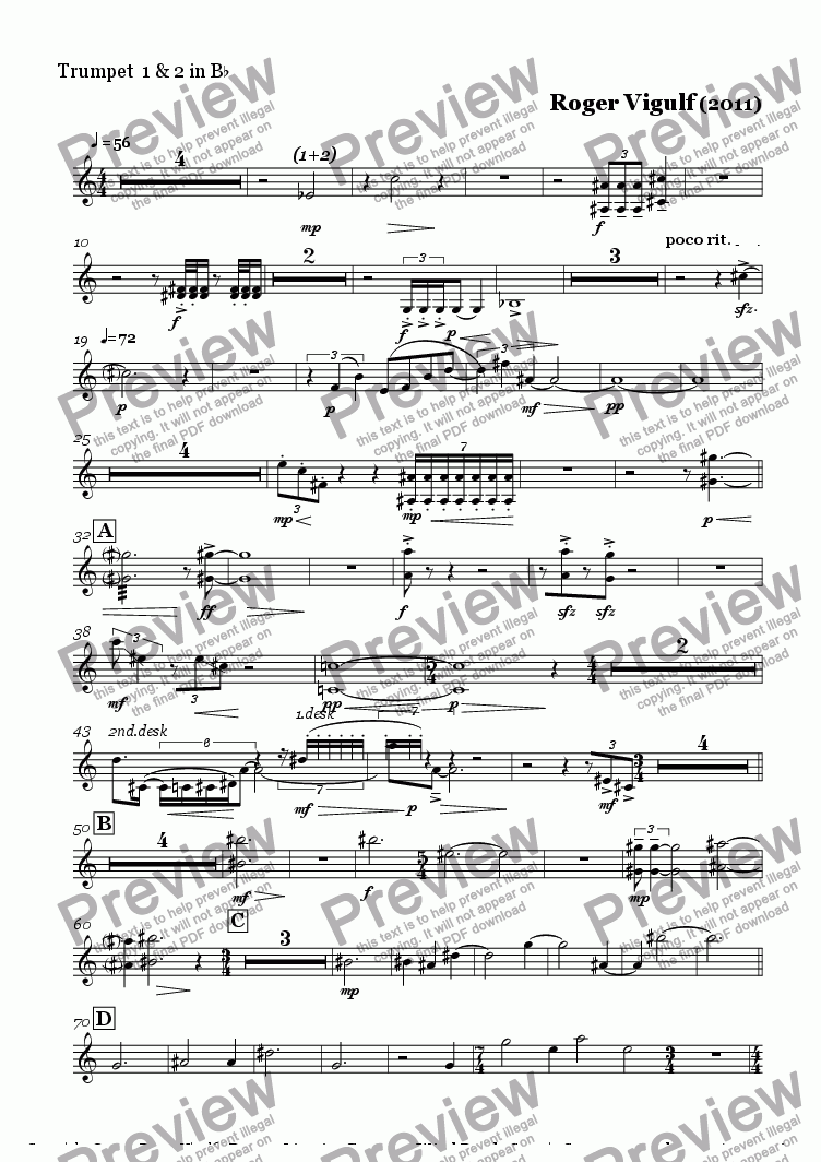 page one of the Trumpet  1 & 2 in B^b part from Bronze Licorice  Concerto  for  Clarinet/Digital Delay and Wind ensemble