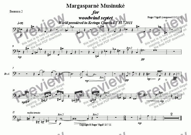page one of the Bassoon 2 part from Margasparnè Musinukè for woodwind septet World premièred in Keringa Church LT 17.7.2011