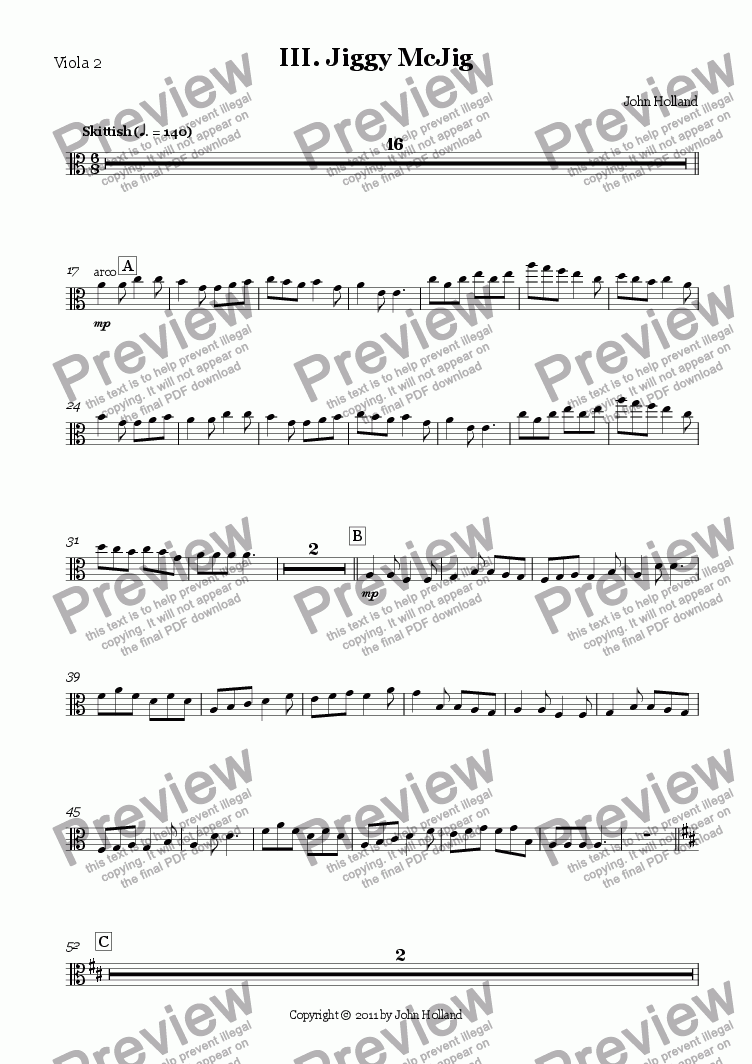 page one of the Viola 2 part from III. Jiggy McJig