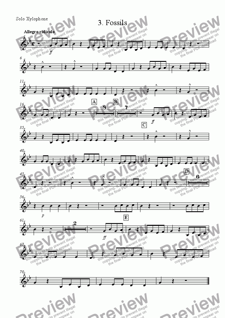 page one of the Xylophone part from 'Fossils' from Carnival of the Animals