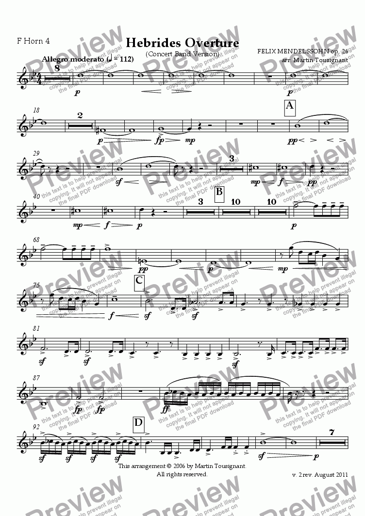 page one of the F Horn 4 part from Hebrides Overture