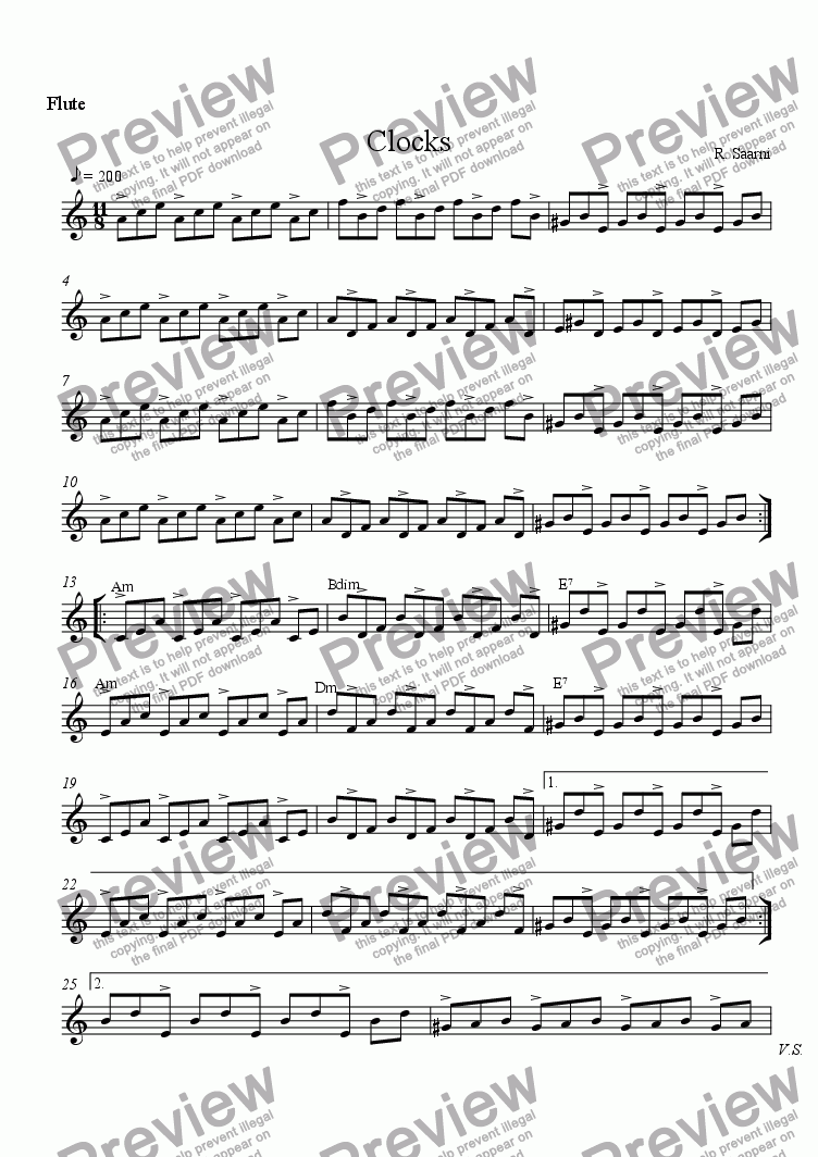 page one of the Flute part from Clocks