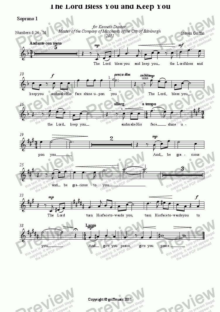 page one of the Soprano 1 part from The Lord Bless You and Keep You