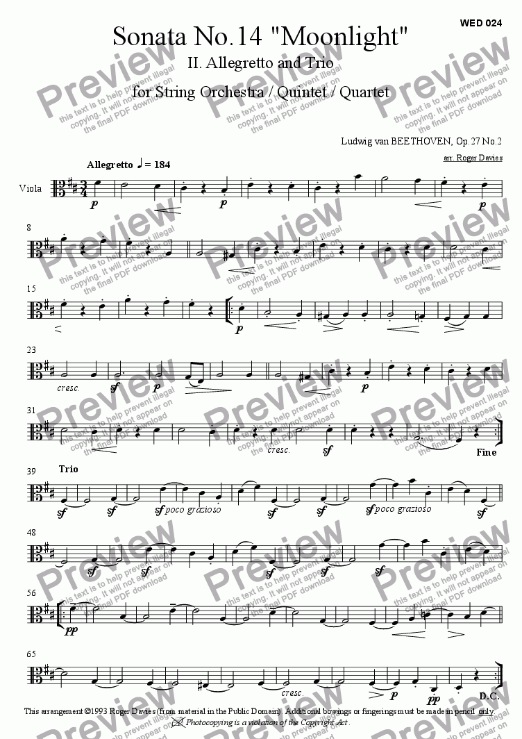 "page one of the Viola part from Piano Sonata No.14 ""Moonlight"" - 2. Allegretto"
