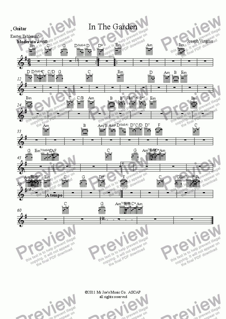page one of the Guitar part from :040 Opus: [04]. In The Garden  (from the cantata, Easter Tableaux)