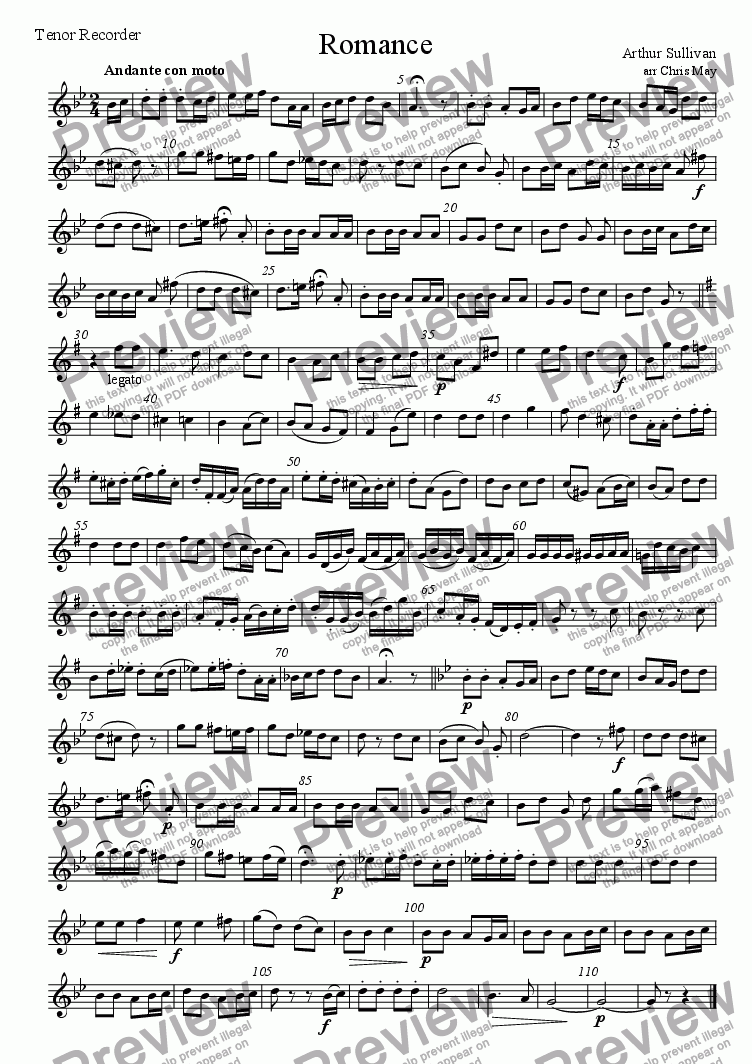 page one of the Tenor recorder part from Romance