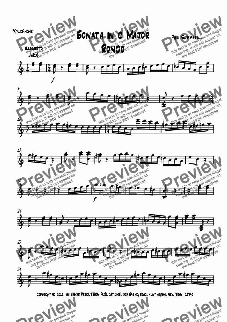 page one of the Xylophone part from Sonata in c Major Rondo