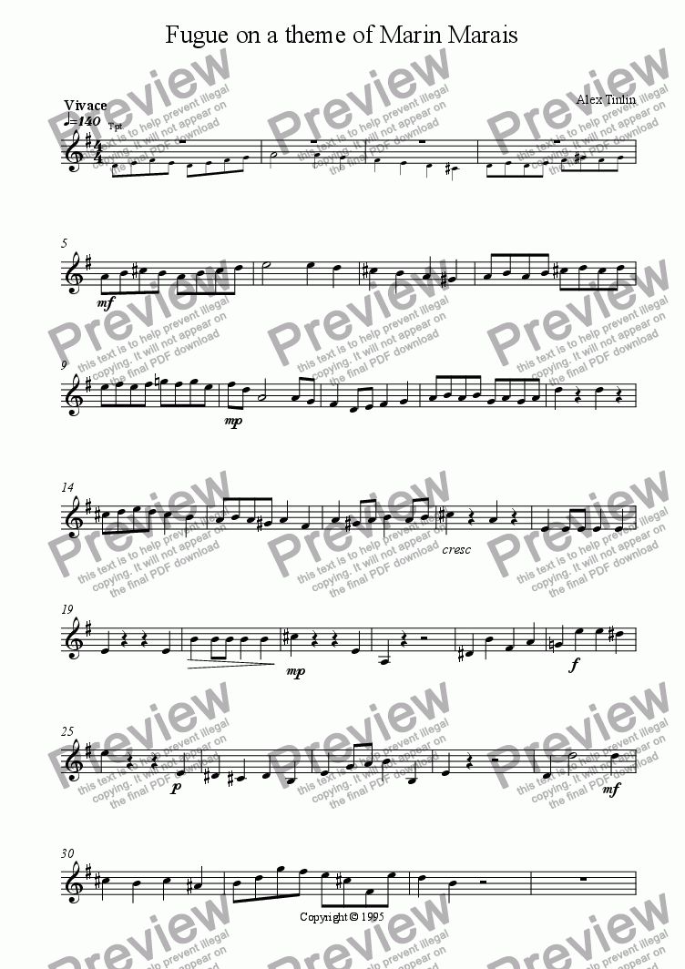 page one of the Trumpet I in B^b part from Fugue on a theme of Marin Marais